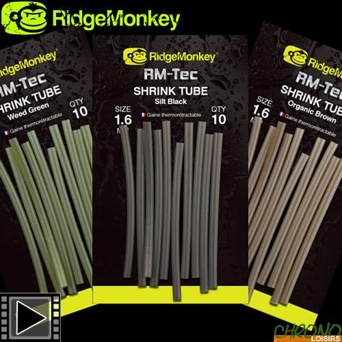 RidgeMonkey Pack 10 x RM-Tec Shrink Tube Silt Black 1.6 mm NEW