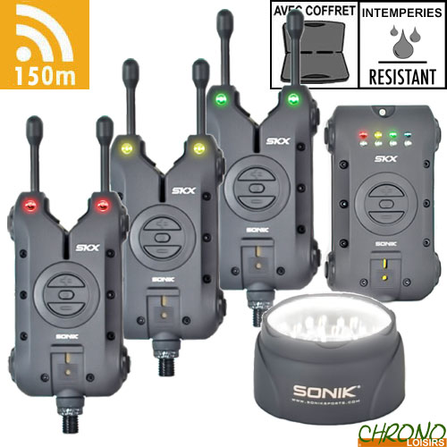 Sonik SKX Alarm 3 Rod Set and Receiver FREE Bivvy Light NEW Bite Alarm 3+1